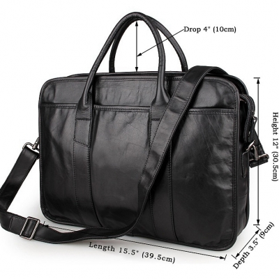 Excellent Italy leather briefcase, Leather Laptop Bag-Size