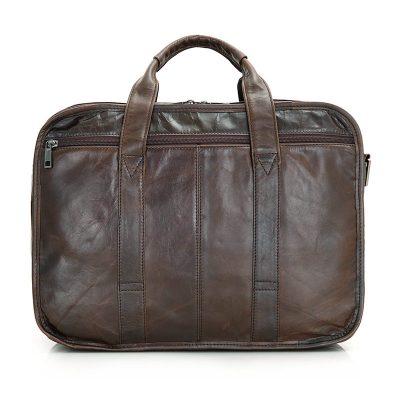 Genuine Vintage Leather Briefcase Messenger Laptop Bag-Back