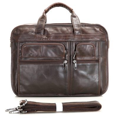 Genuine Vintage Leather Men's Chocolate Briefcase Messenger Laptop Bag
