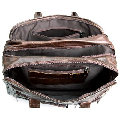 Genuine Vintage Leather Men's Chocolate Briefcase Messenger Laptop Bag-Inside