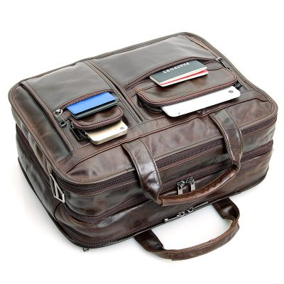 Genuine Vintage Leather Men's Chocolate Briefcase Messenger Laptop Bag-Pocket