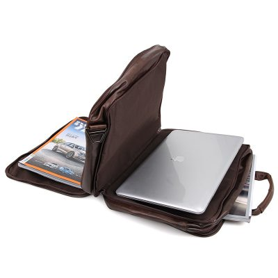 Genuine Vintage Leather Men's Chocolate Briefcase Messenger Laptop Bag-Pockets