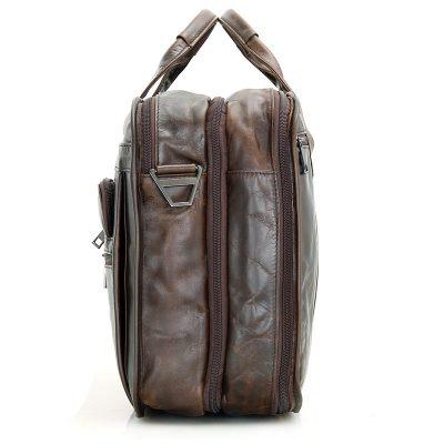 Genuine Vintage Leather Men's Chocolate Briefcase Messenger Laptop Bag-Side
