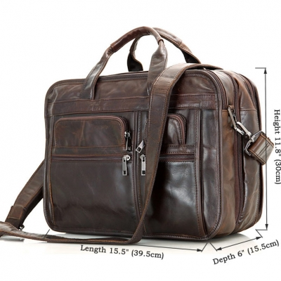 Genuine Vintage Leather Men's Chocolate Briefcase Messenger Laptop Bag-Size