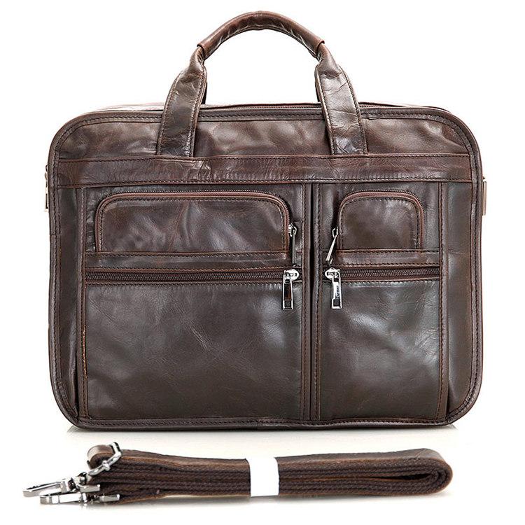 f3b54ac20fda Genuine Vintage Leather Mens Chocolate Briefcase Messenger Laptop Bag