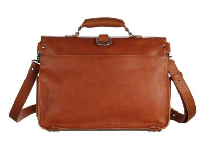 Leather Messenger Bag, Leather Briefcase Backpack-Back