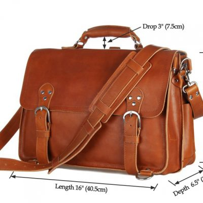 Leather Messenger Bag, Leather Briefcase Backpack-Size