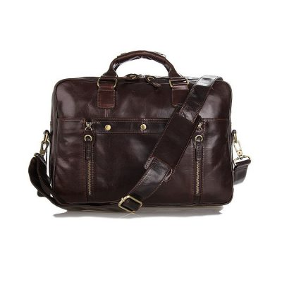 Leather Travel Briefcase, Large Leather Briefcase for Men-Front