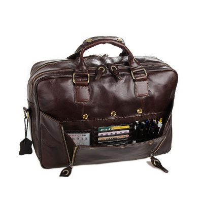 Leather Travel Briefcase, Large Leather Briefcase for Men-Pocket