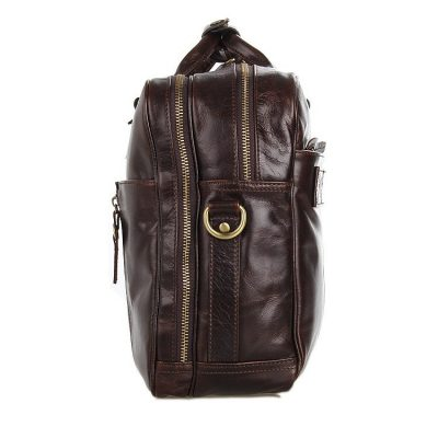 Leather Travel Briefcase, Large Leather Briefcase for Men-Side