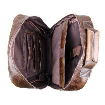 Men's Vintage Leather Backpack, Leather Rucksack-Inside