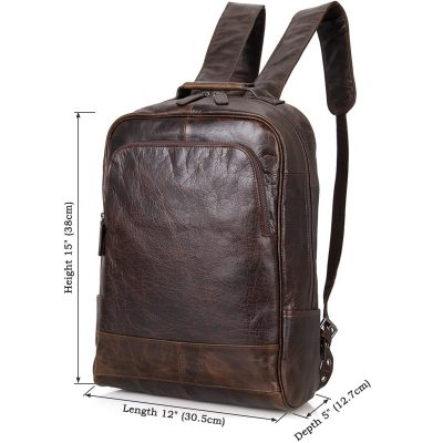 Men's Vintage Leather Backpack, Leather Rucksack-Size