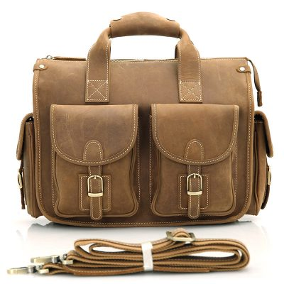 Men's Brown Leather Briefcase Laptop Hand Bag