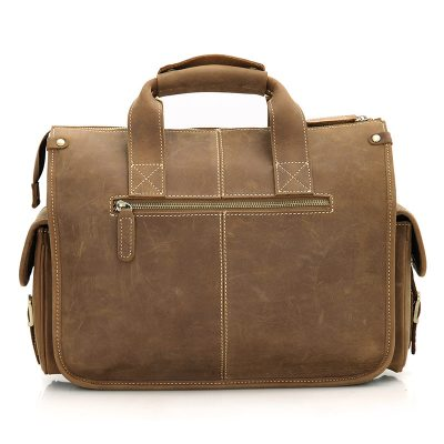 Men's Brown Leather Briefcase Laptop Hand Bag-Back