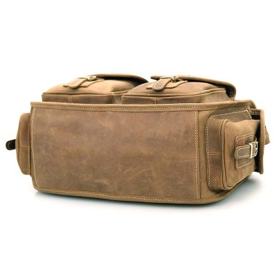 Men's Brown Leather Briefcase Laptop Hand Bag-Bottom