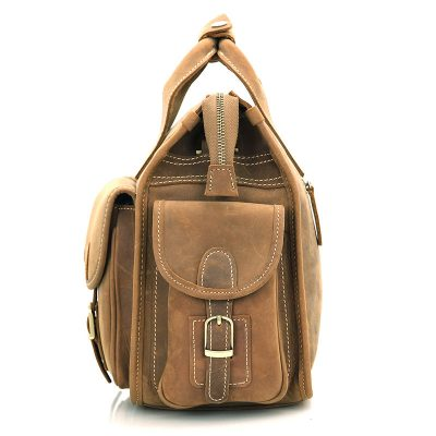 Men's Brown Leather Briefcase Laptop Hand Bag-Side