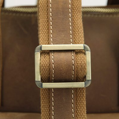 Men's Brown Leather Briefcase Laptop Hand Bag-Strap