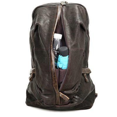 Mens Full Grain Leather Backpack, Leather Rucksack-Pocket