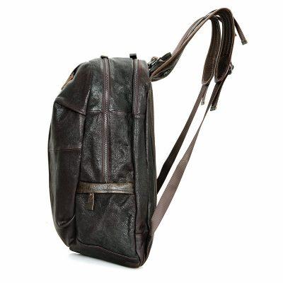 Mens Full Grain Leather Backpack, Leather Rucksack-Side