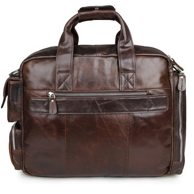 Men's Style Leather Travel Briefcase-Back