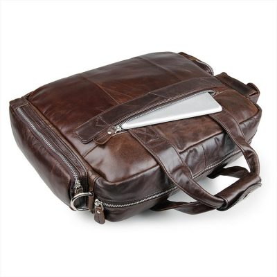 Men's Style Leather Travel Briefcase-Back-Pocket