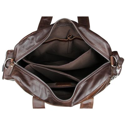 Men's Style Leather Travel Briefcase-Inside