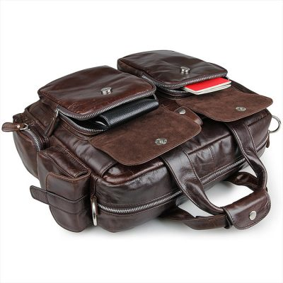 Men's Style Leather Travel Briefcase-Pockets