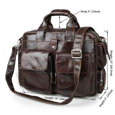 Men's Style Leather Travel Briefcase-Size