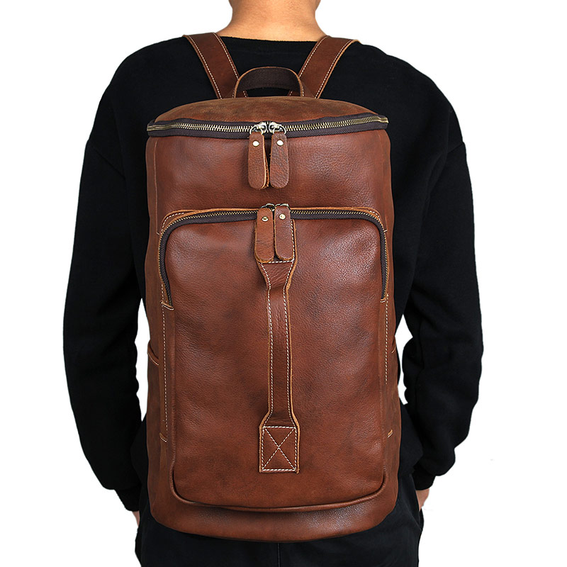 Outdoor Leather Backpack Multi Functional Backpack