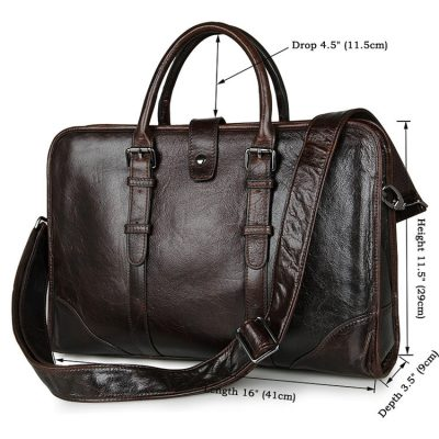 Premium Quality Leather Briefcase, Laptop Bag, Handbag, Satchel, Business Bag-Size