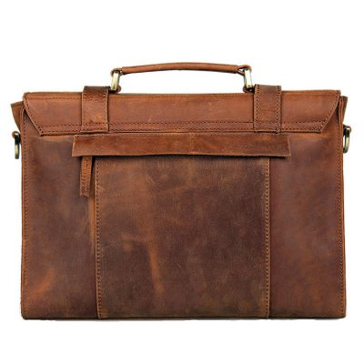 Slim Leather Messenger Bag, Leather Laptop Bag-Back
