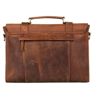 Slim Leather Messenger Bag, Leather Laptop Bag-Back