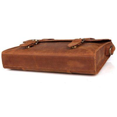 Slim Leather Messenger Bag, Leather Laptop Bag-Bottom