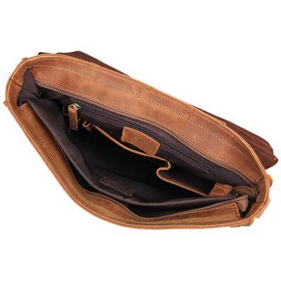 Slim Leather Messenger Bag, Leather Laptop Bag-Inside