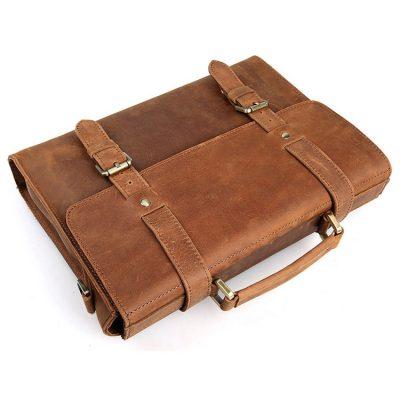 Slim Leather Messenger Bag, Leather Laptop Bag-Top
