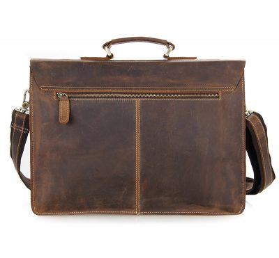 Style Men's Leather Messenger Bag Briefcase Laptop Bag-Back