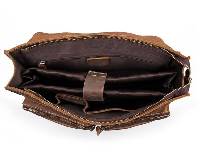 Style Men's Leather Messenger Bag Briefcase Laptop Bag-Inside