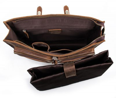 Style Men's Leather Messenger Bag Briefcase Laptop Bag-Inside Details