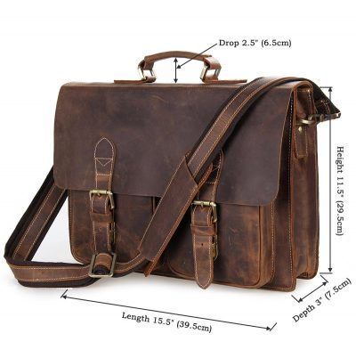 Style Men's Leather Messenger Bag Briefcase Laptop Bag-Size