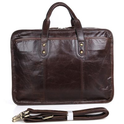 Stylish Leather Briefcase, Leather Laptop Messenger Bag