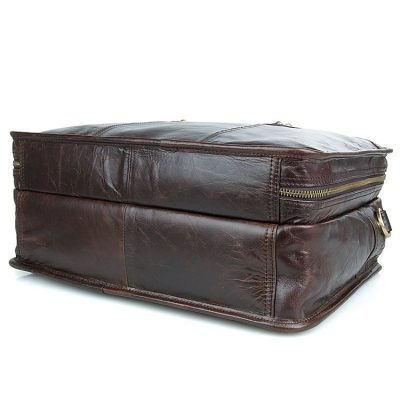 Stylish Leather Briefcase, Leather Laptop Messenger Bag-Bottom