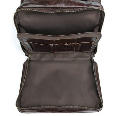 Stylish Leather Briefcase, Leather Laptop Messenger Bag-Front Pocket