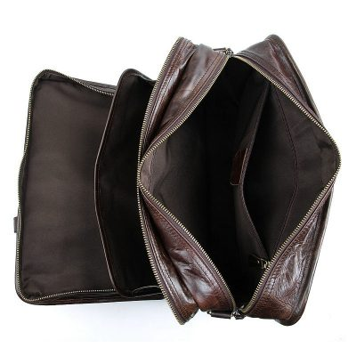 Stylish Leather Briefcase, Leather Laptop Messenger Bag-Inside