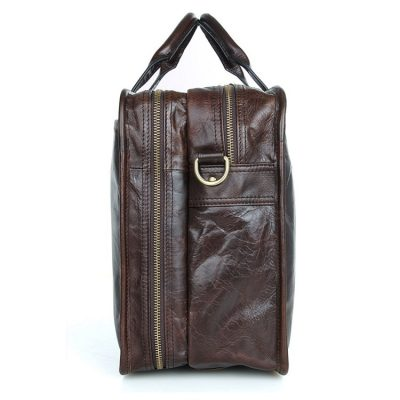 Stylish Leather Briefcase, Leather Laptop Messenger Bag-Side