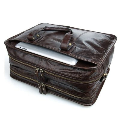 Stylish Leather Briefcase, Leather Laptop Messenger Bag-Top