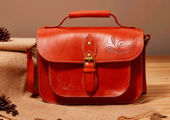 Stylish Leather Handbag Leather Messenger Bag for Women
