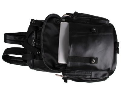 Stylish Urban Leather Backpack-Pocket