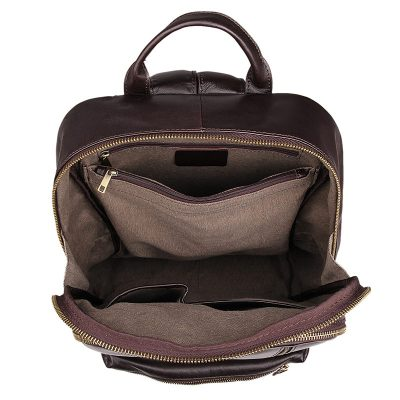 Unisex Leather Backpack, Laptop Backpack-Inside