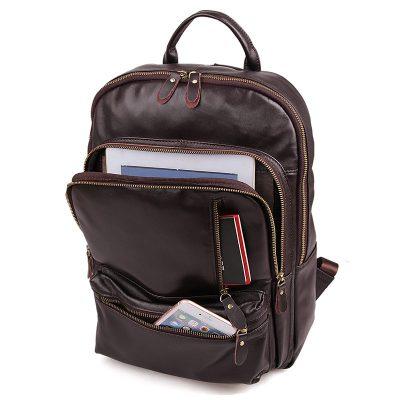 Unisex Leather Backpack, Laptop Backpack-Pockets