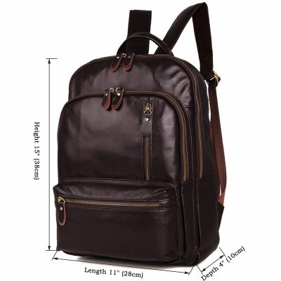 Unisex Leather Backpack, Laptop Backpack-Size